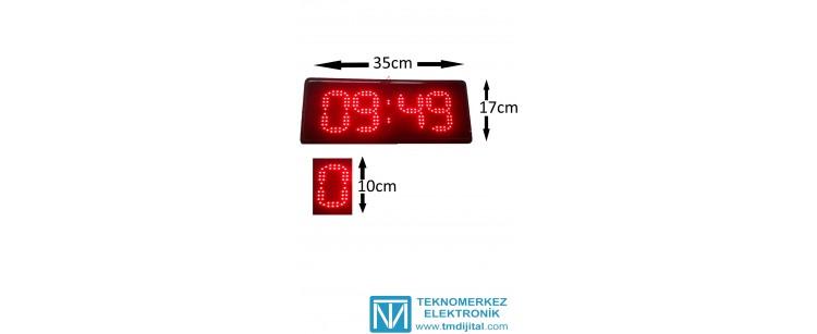 10 cm Ledli Saat Derece, Kasa: 17x35 cm
