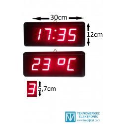 Dijital Saat Termometre (Derece) Kasa Ölçüsü: 12x30 cm
