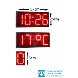 15 cm Harfli Dijital Saat Derece, Kasa: 25x57 cm