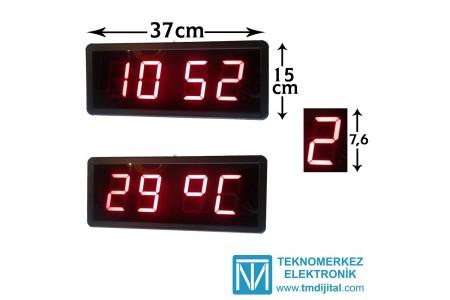 76 mm Displayli Dijital Saat Derece, Kasa : 15x37 cm