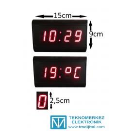 Dijital Saat Termometre (Derece) Kasa Ölçüsü: 9x15cm