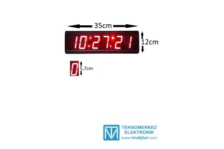 57 mm Displayli Saniyeli Dijital Saat Derece Kasa: 12x35  cm