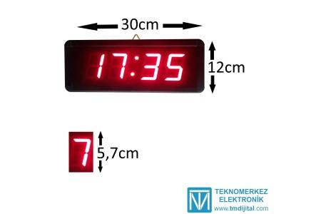 Dijital Merkezi Ayarlı Okul Saati, Kasa: 12 x 30 cm