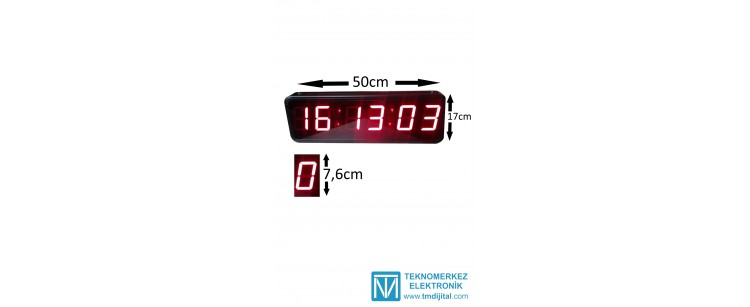 76 mm Displayli Çift Yön Saniyeli Dijital Saat Derece, Kasa: 17x50  cm