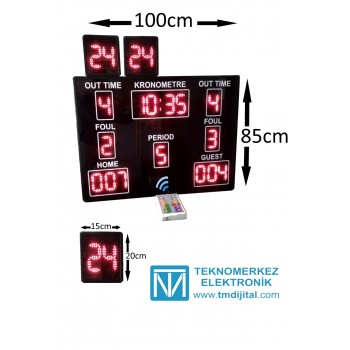 Basketbol Skorbord Sistemi, Kasa:110x80x3 cm