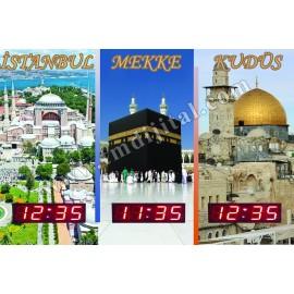 Dekoratif Dünya Şehirleri Saatleri Kasa Ölçüsü: 45x75 cm