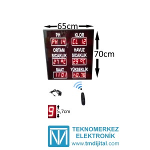 Dijital Havuz Sıcaklık Klor PH , Kasa:70x65 cm