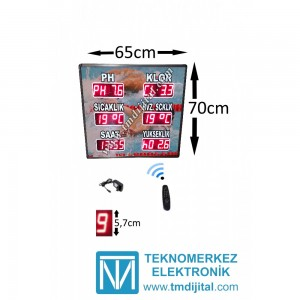 Tasarım Dijital Havuz Sıcaklık Klor PH , Kasa:70x65 cm