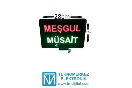 Kumandalı Renkli Ledli Meşgul/Müsait Yazısı Kasa: 26x20 cm