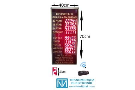 Dijital Kuyumcu Fiyat Panosu, Kasa: 40x70 cm