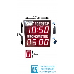 Kumandalı Saat Derece Kronometre Kasa Ölçüsü: 27x27 cm
