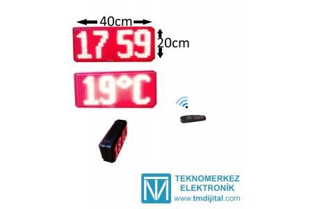 Totem için Çift Taraflı Dijital Saat ve Derece(Termometre) Kasa Ölçüsü: 20x40cm